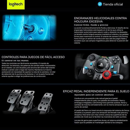 logitech gaming: timón de carreras g29 + palanca de cambios