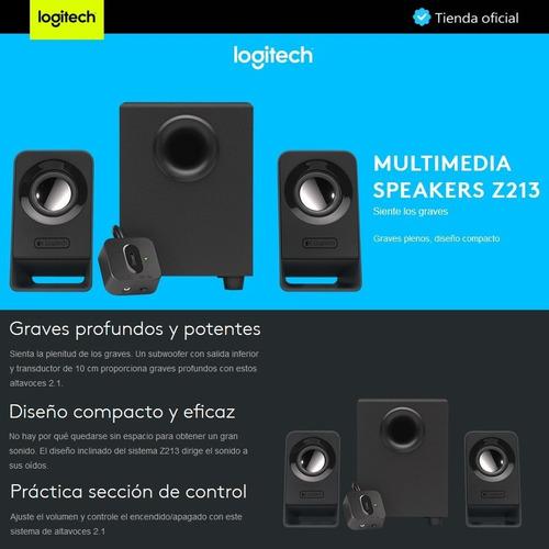 logitech z213, altavoces 2.1, graves plenos, diseño compacto