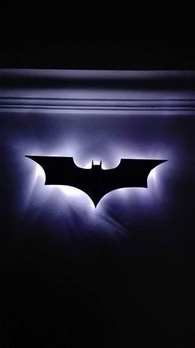 logo cuadro batman con luces led batiseñal