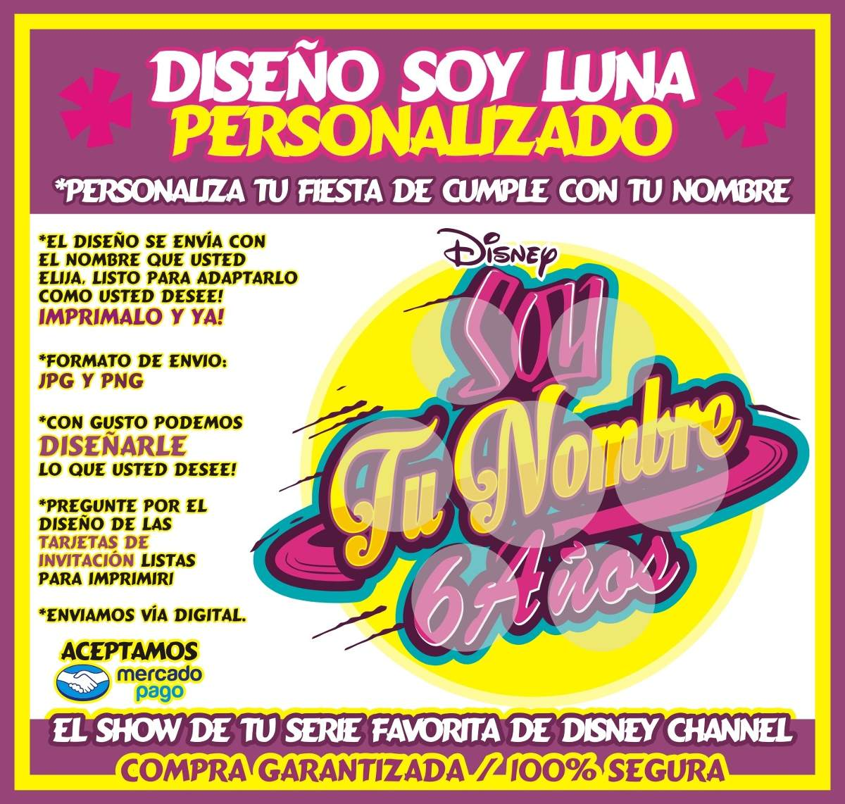 Logo Diseño Soy Luna Personalizado Tarjetas De Invitacion