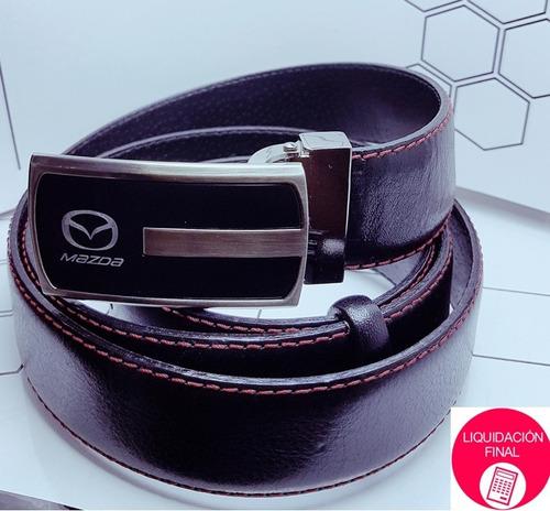 logo mazda cinturón cuero italiano hilo rojo - origen polaco