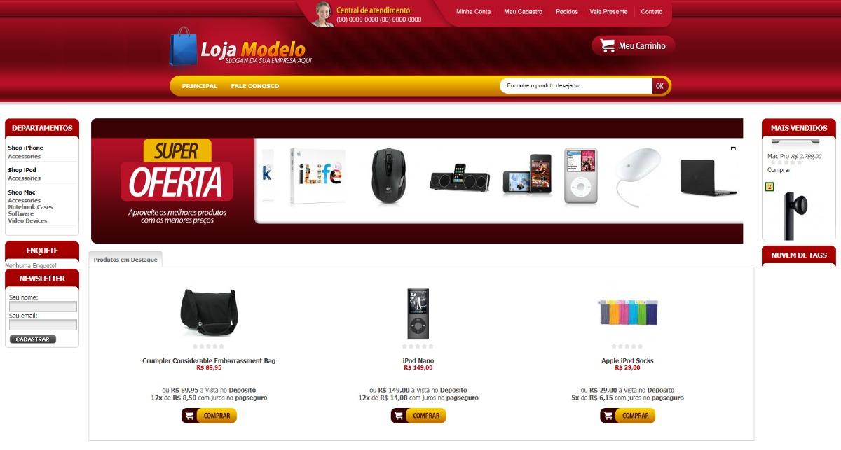 5c23de512a276c Loja Virtual Com Layout Personalizado+ Homologação Cielo
