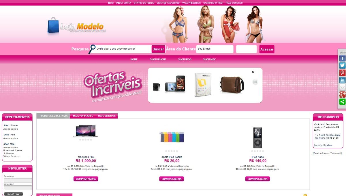 9fbd139c1 Loja Virtual Feminina - R$ 250,00 em Mercado Livre