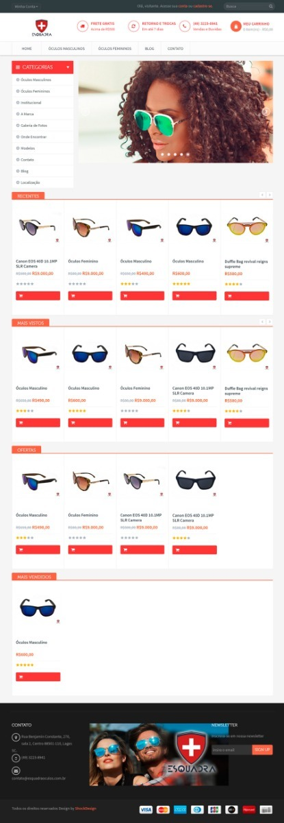 2d43d0877 Loja Virtual Para Óculos Escuros, Ótica E Afins - R$ 260,00 em ...