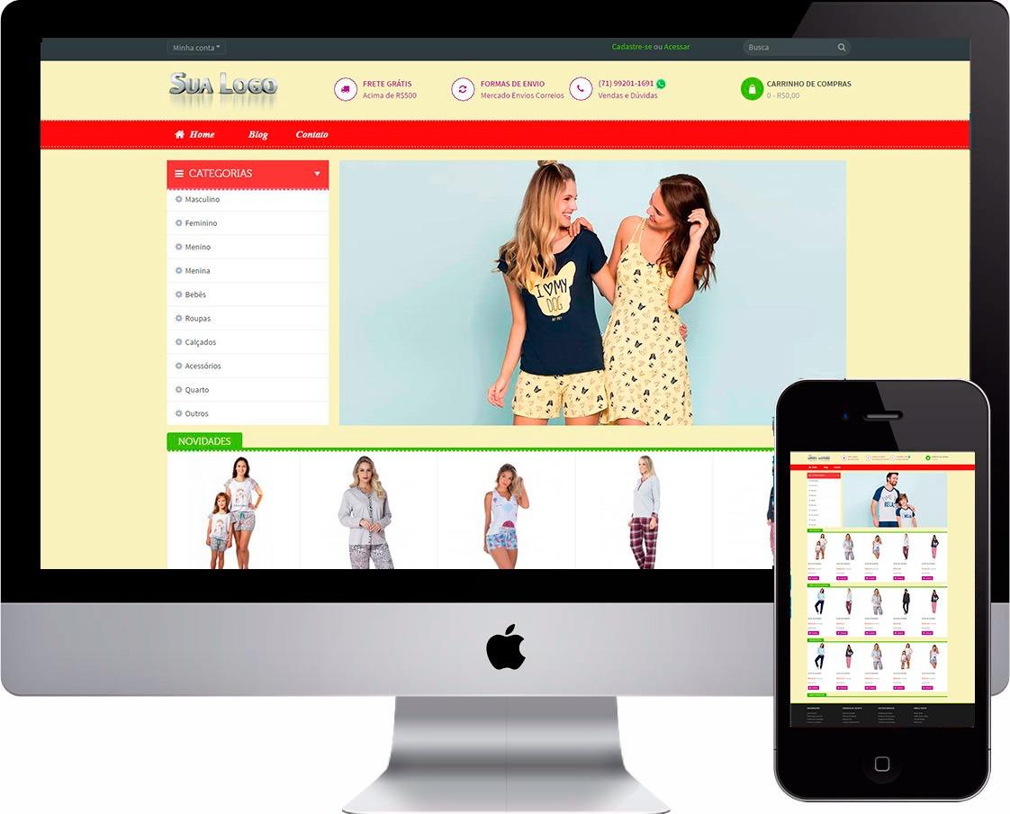 28c57c8acc9d Loja Virtual Para Pijamas Camisolas Lingerie - R$ 260,00 em Mercado ...