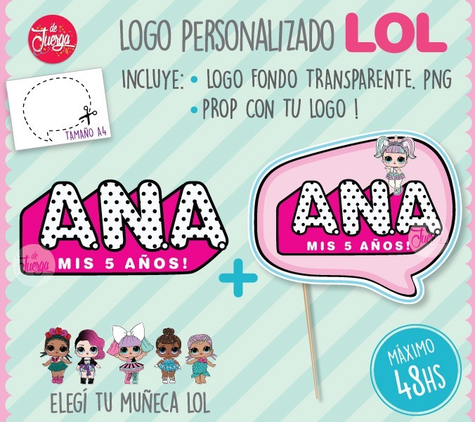 Lol Surprise Logo Personalizado Prop Photobooth Imprimible 90
