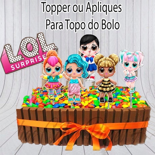 lol surprise topper ou apliques para bolo