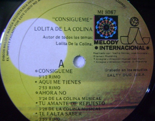lolita de la colina / consígueme  1 disco lp vinilo