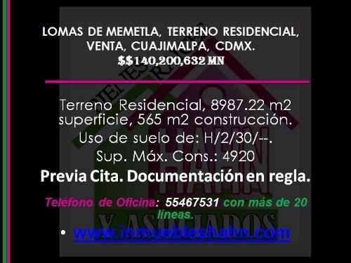 lomas de memetla, terreno residencial, venta, cuajimalpa, cdmx