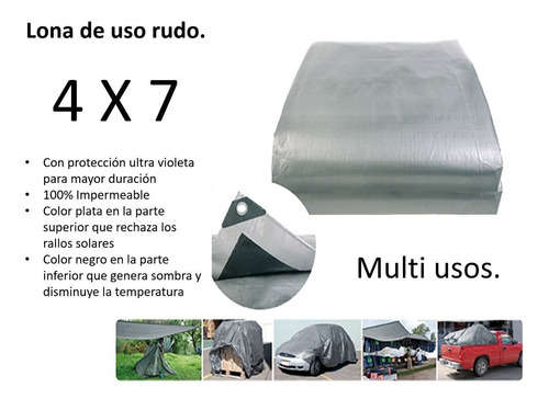 lona 4x7 reforzada color gris impermeable $ mayoreo