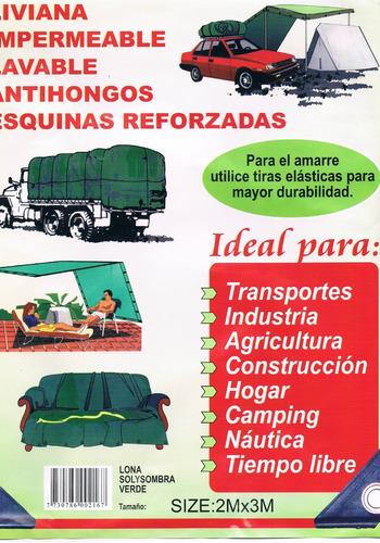 lona camping sol y sombra verde 2 x 2 variedad de medidas