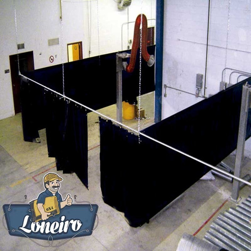 lona cortina pvc preto 2,5x2,5 biombo solda galpão antichama