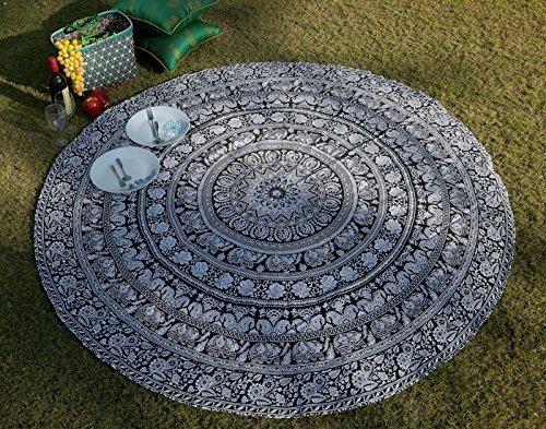 lona de playa redonda elefante mandala india hippie lona par