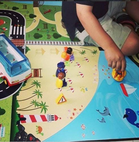 lona didáctica para niños modelo aldea