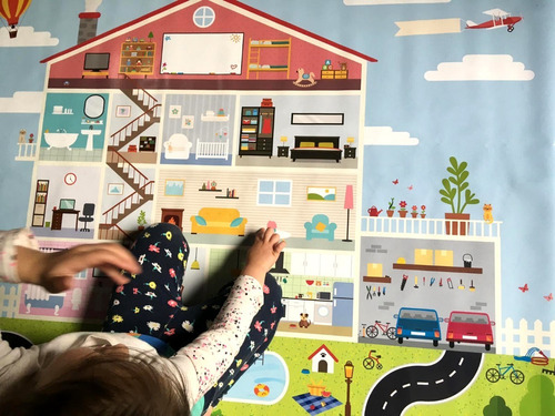 lona didáctica para niños modelo  casita