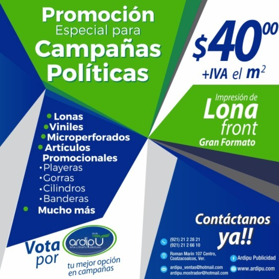 Lona Front Impresa Para Campañas Publicitarias Y Políticas -   40.00 ... 0ecc722e4b4d4