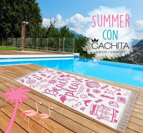 lona playera p/ playa estampada diseño beach please rosa