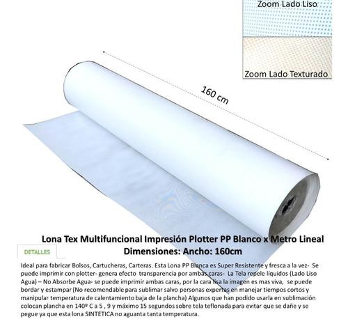lona textil blanco impresión tex  ancho 160cm 2metros lineal