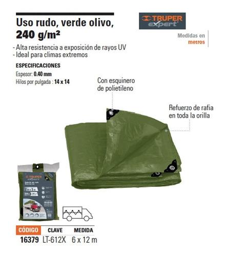 lona uso rudo verde olivo  6 x 12 m  a16379 envío gratis