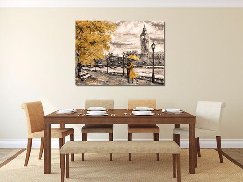 londres negro/amarillo cuadro decorativo en canvas