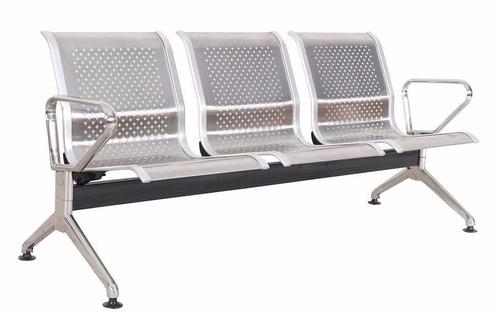 longarina aço inoxidável espera hospital clinica 3 lugares