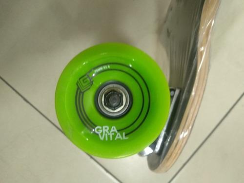 longboard gravital+ llave t, llanta70mm, maple canada+ bambú
