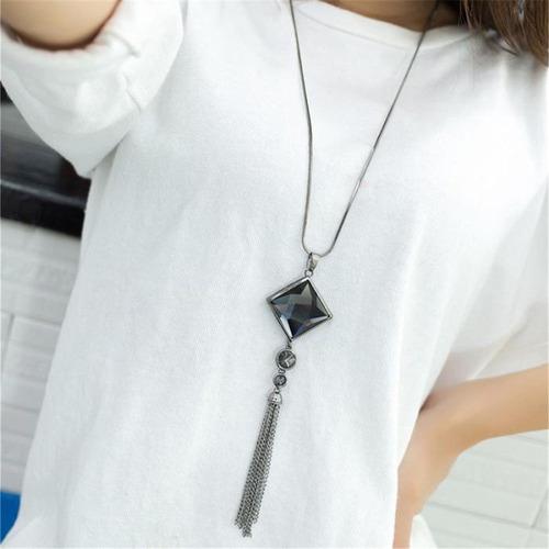 longo colar grafite ou prata e pingente cristal  c1069