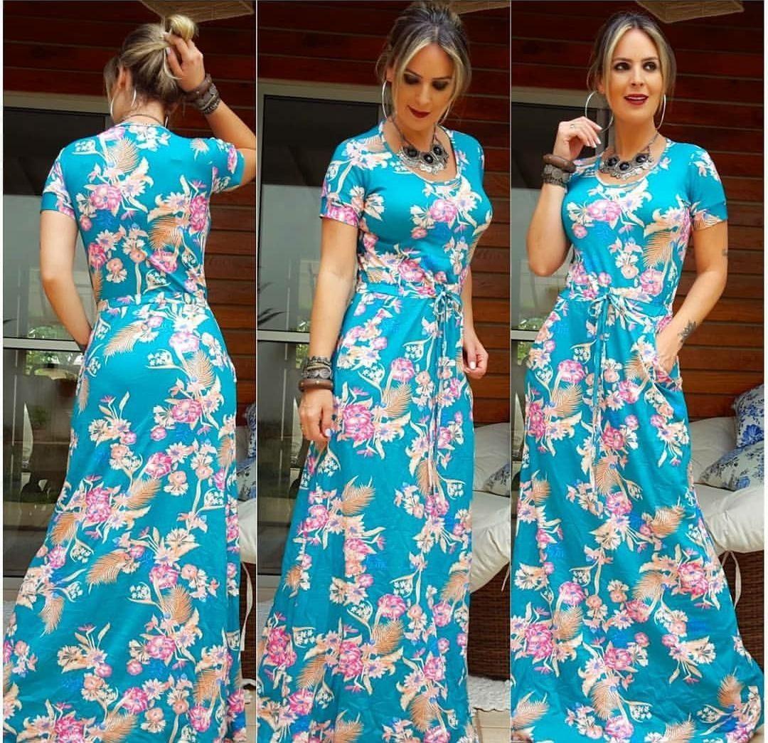 814abed8b Vestido Longo Feminino Varias Estampas Promoção Novo Cód46 - R$ 85 ...