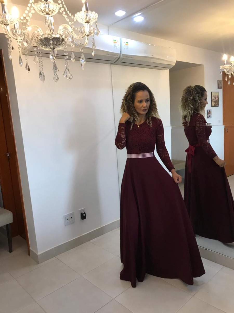 67632da9a2 Vestido Longo De Festa Madrinha Casamento Formatura C Cinto - R  247 ...
