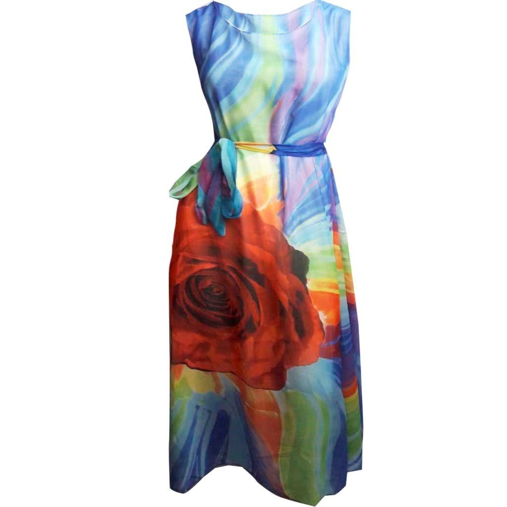 7ad18b238 Carregando zoom... vestido estampado longo com recortes roupas femininas