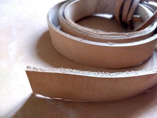 lonjas cuero vaqueta natural 40mm. cinturones, collares, etc