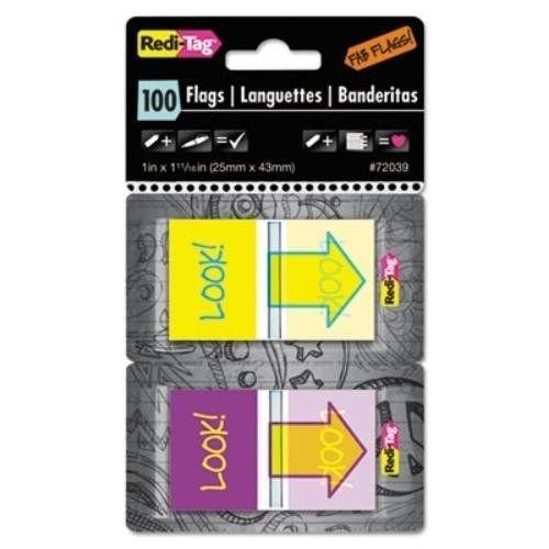 look redi-tag! pop-up banderas fab con dispensador, púrpura