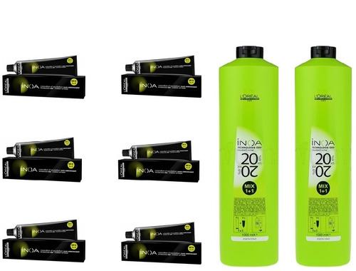 loreal kit inoa c/ 6 colorações de 60g + 2 ox 20vol