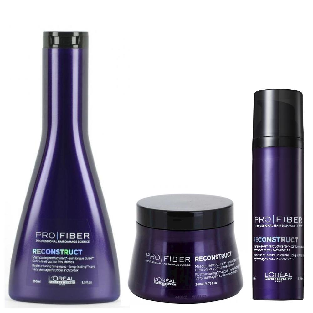 fa03aee22 loreal pro fiber reconstruct shampoo + mascara + leave-in t2. Carregando  zoom.
