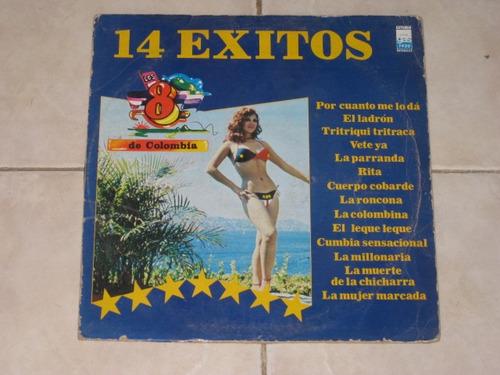 los 8 de colombia 14 exitos disco lp acetato vinil