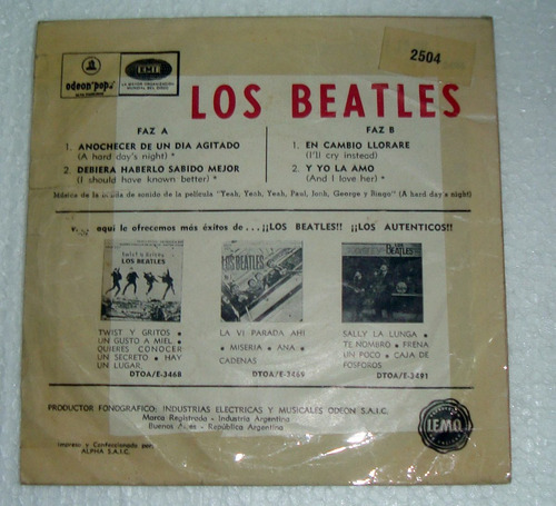 los beatles anochecer de un dia agitado simple ep c/tapa