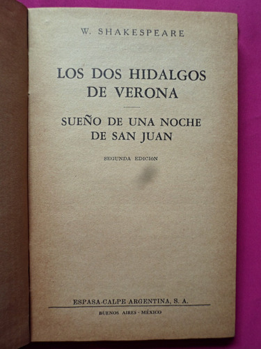 los dos hidalgos de verona, sueño de san juan - shakespeare
