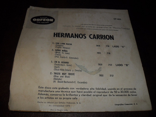 los hermanos carrion ep rock español 60,s
