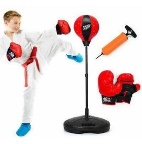 Black Guantes De Boxeo Para Niños Saco Juego Kit Bolsa Pegar
