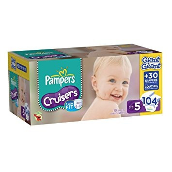 los pañales pampers cruisers tamaño 5 paquete gigante, 104