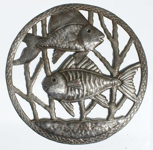 los peces decoracion hecha a mano en metal, arte haiti 38cm