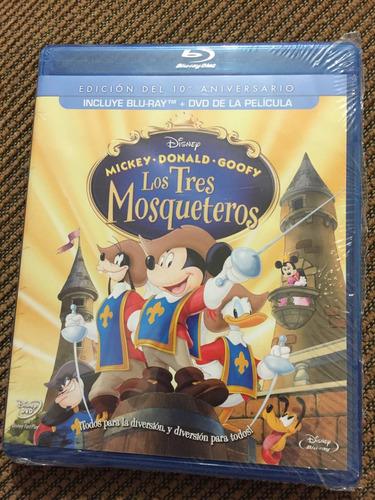 los tres mosqueteros - disney bluray + dvd mickey donald
