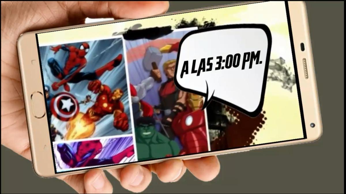 Los Vengadores Comics 2 Tarjeta Invitación Cumpleaños Vídeo