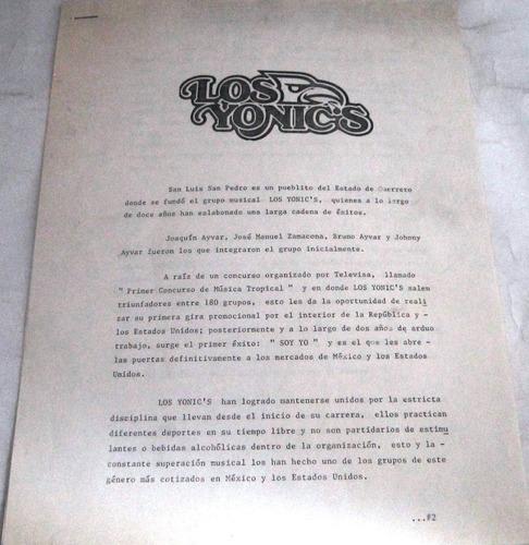los yonics - a tu recuerdo nuevo carta y funda promo lp