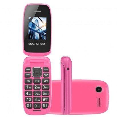 lote 05 celular multilaser flip up p9023 dual rosa lacrado