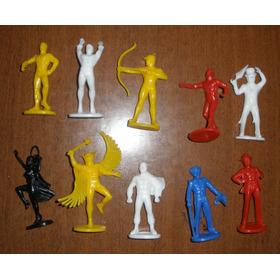 Lote 10 Bonecos Super Heróis Miniaturas Vintage Retrô
