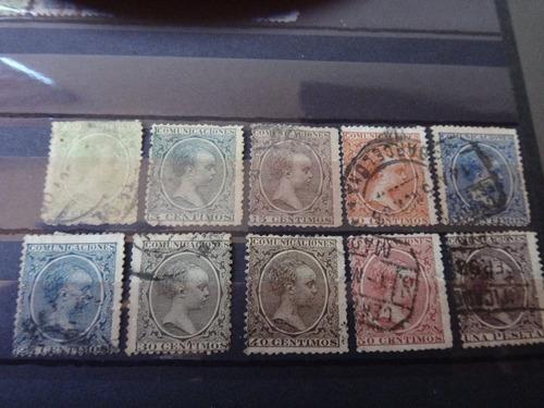 lote 10 estampillas españa 1889 alfonso xiii