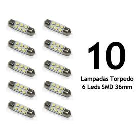 Lote 10 Lampadas Torpedo 6 Leds 36mm Branca Luz Teto Placa