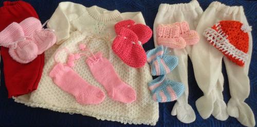 lote 10 prendas tejidas para bebe talle 0 a 3 meses