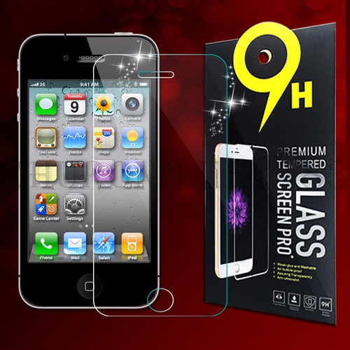 lote 100 micas cristal templado iphone 4 4s 9h mayoreo